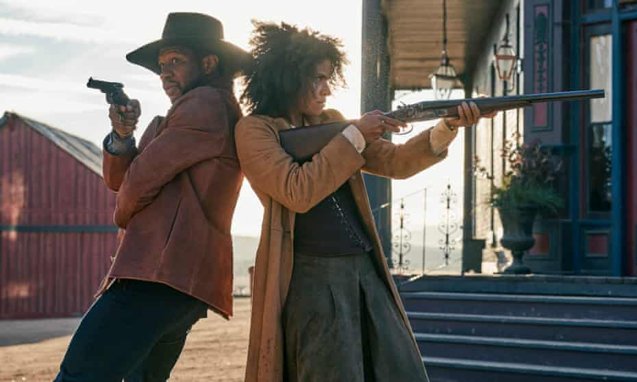 Jonathan Majors as Nat Love and Zazie Beetz as Mary Fields in The Harder They Fall.