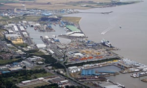Aerial view of King George dock in Hull, where the acid leak occurred