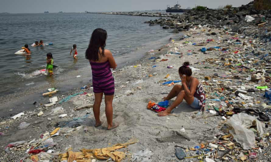 Plastic waste washed up on the coast of the Philippines.