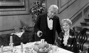Freddie Frinton as Butler James and May Warden as Miss Sophie in the sketch Dinner for One.