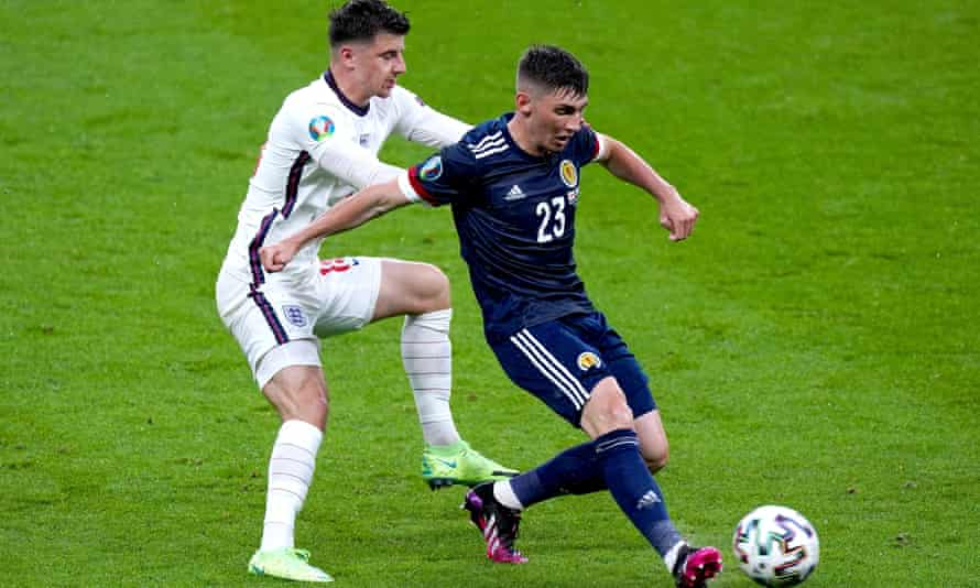England's Mason Mount and Scotland's Billy Gilmour during their Euro 2020 match last week.