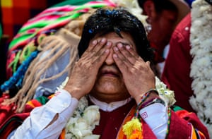 Morales gestures during a rally in Orinoca