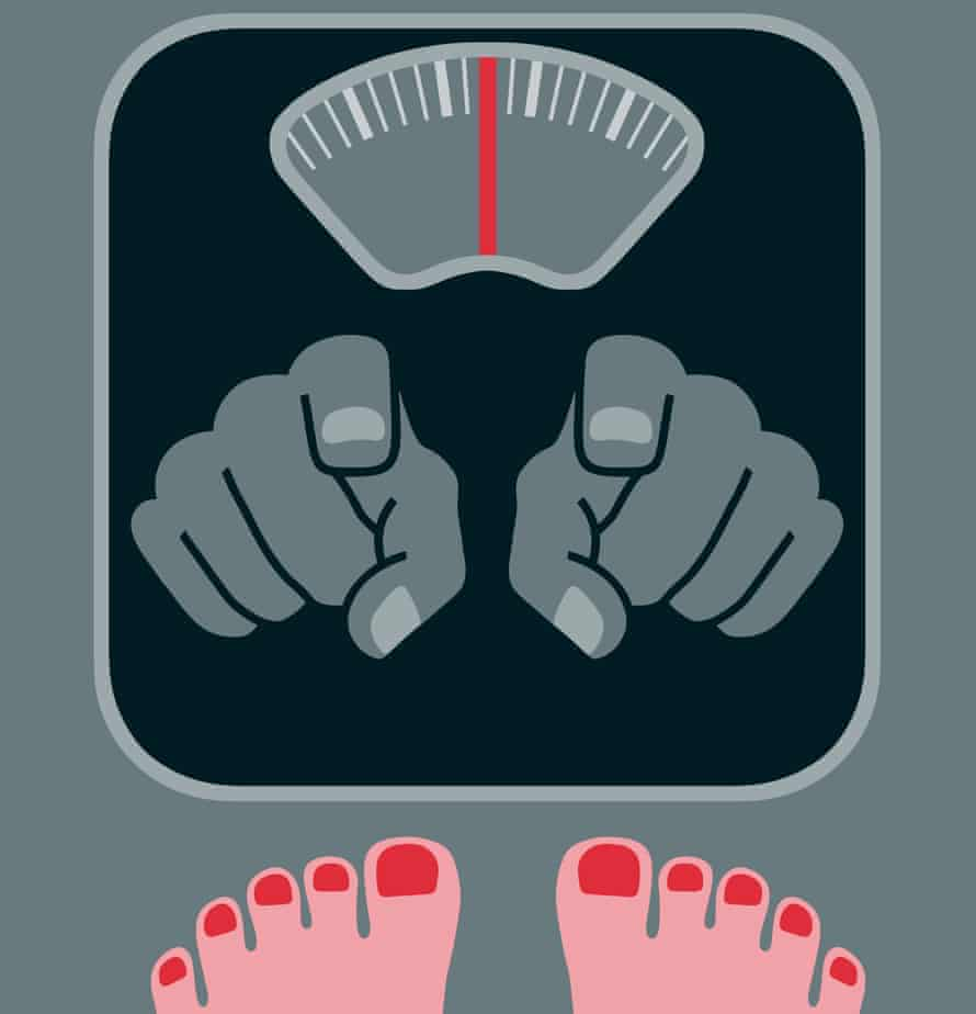 illustration of bathroom scales with fingers pointing at the feet on them