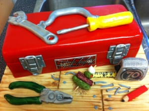 The Wicked Little Cake Company in Toronto created this toolbox cake for a 70-year-old Scottish craftsman, made from lime cake with coconut butter cream
