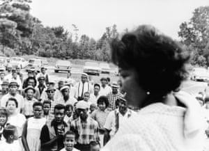 Rutha Mae Harris addressing voters at a rally in Hale County, Alabama, in 1965.