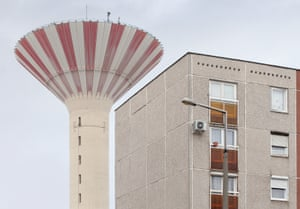 A typical panelház (Hungarian for pre-cast panels) residential block. The concrete water tower, built in 1984, is a landmark of the suburban estate of Csepel, Budapest