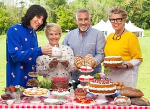 Noel Fielding and Sandi Toksvig, left, with judges Paul Hollywood and Prue Leith on Channel 4's The Great British Bake Off.