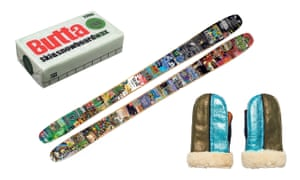 Composite image of Butta ski and snowboard wax; Nix tailored-made skis; and Penelope Chilvers shearling mittens
