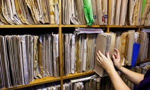 Patient medical record files in a doctors' surgery