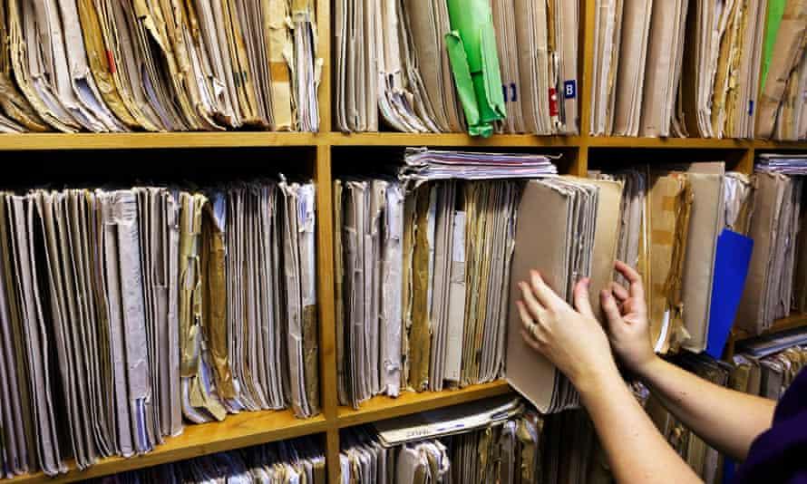 Paper records at the Hillswick Health Centre, Shetland, Scotland.