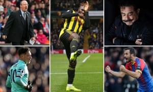 Rafael Benítez, Isaac Success, Fulham chairman and owner Shahid Khan, Luka Milivojevic and Mesut Özil.