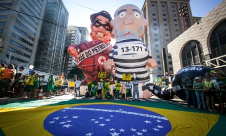 A protest against the former president, Dilma Rousseff, in Sao Paulo, Brazil, April 2016.