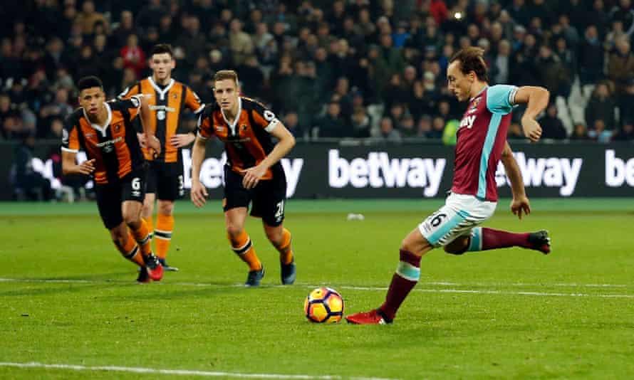 West Ham's Mark Noble scores the decisive penalty.
