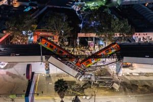 Mexico City, MexicoAn aerial view of the scene after an elevated section of metro track carrying train carriages with passengers, collapsed onto a busy road. The Line 12 accident reportedly killed at least 20 people and injured a further 70