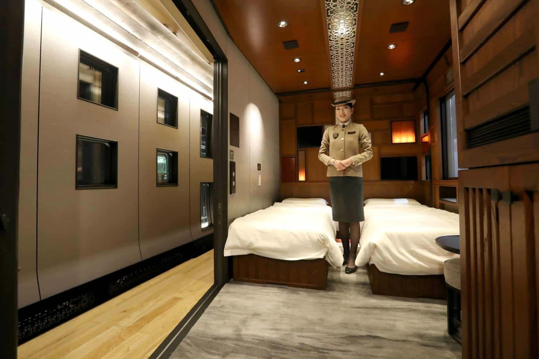 The suite room, one of 17 on the Train Suite Shiki-shima