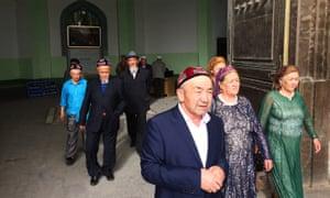 Worshippers leave Kashgar's Id Kah mosque in Xinjiang during Ramadan.
