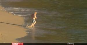 Boris Johnson going for a swim at Carbis Bay