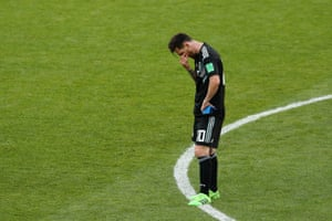 Messi looks dejected at the final whistle.