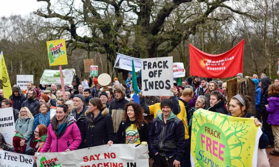 Campaigners protesting against Ineos last year at the site of ancient oak in Sherwood Forest, Nottinghamshire, UK.