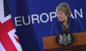 Theresa May at an EU summit in Brussels