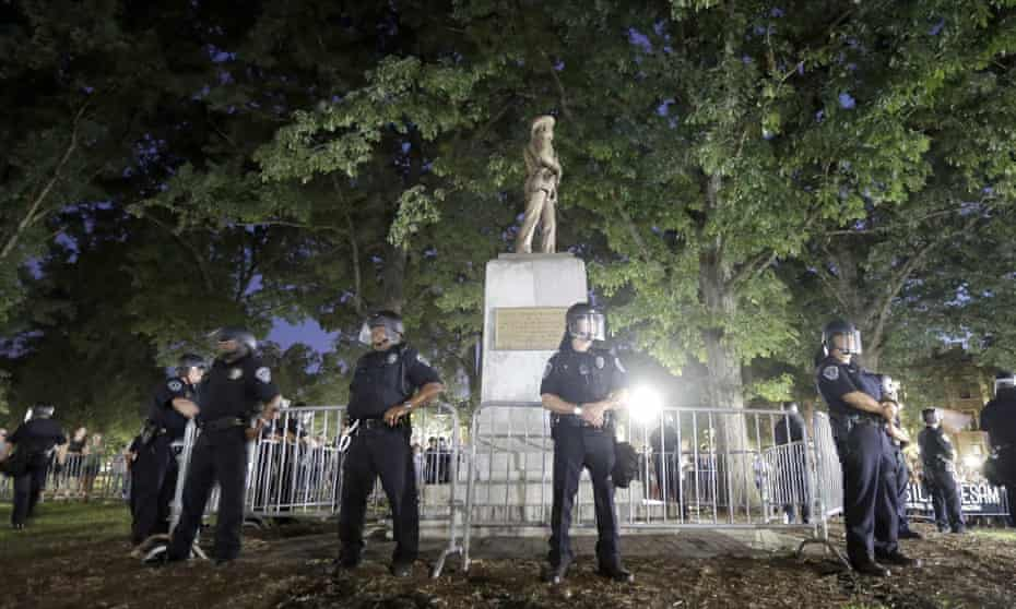 Police surround the 'Silent Sam' Confederate monument at the University of North Carolina in Chapel Hill.