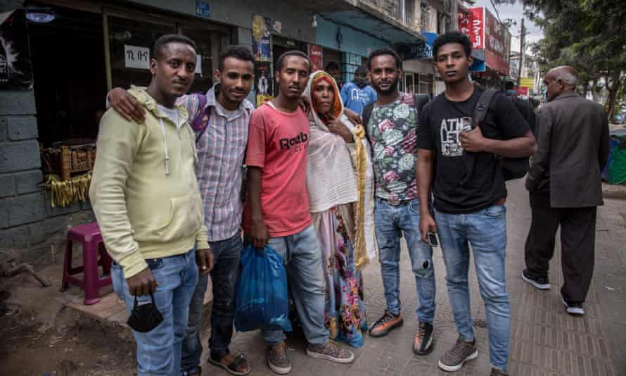 Witnesses gather following a hearing in the smuggling trials in Addis Ababa's federal court in October.
