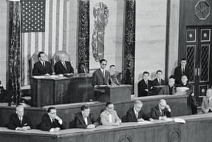 The youthful King addresses a joint session of the USv Congress on June 29, 1960