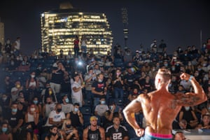Tel Aviv: A contestant participates in the final round during the National Amateur Body Builders Association competition