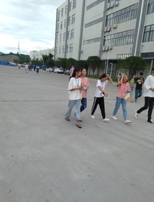 Students on internship at the Foxconn factory in Hengyang, China