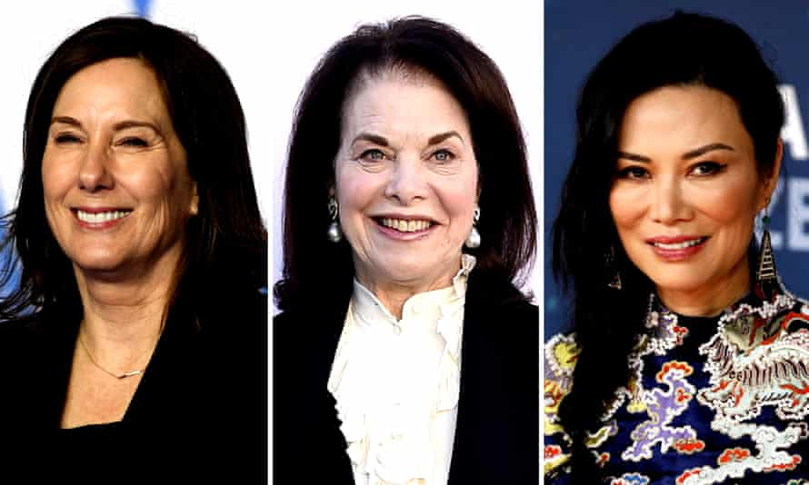 The suspected con artist is accused of impersonating Hollywood figures including (l-r) president of Lucasfilm Kathleen Kennedy, ex-Paramount boss Sherry Lansing, and Wendy Deng, the former wife of Rupert Murdoch.