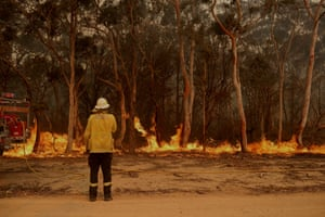 Firefighting crews conduct a backburn near Braidwood, NSW, on Tuesday.