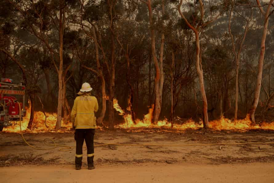 Firefighting crews conduct a backburn near Braidwood, NSW, on Tuesday.