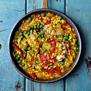 Cheap, healthy and colourful: Miguel Barclay's artichoke paella.