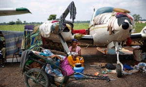 Makeshift camp for internally displaced people set in the airport in Bangui, Central African Republic