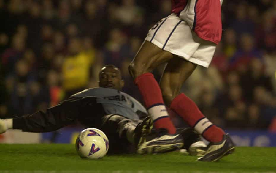 Jacques Song'o is sat down by Kanu.