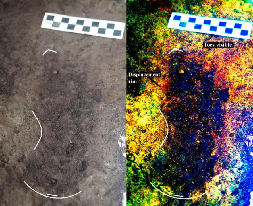 Digitally enhanced photo of a discovered footprint.