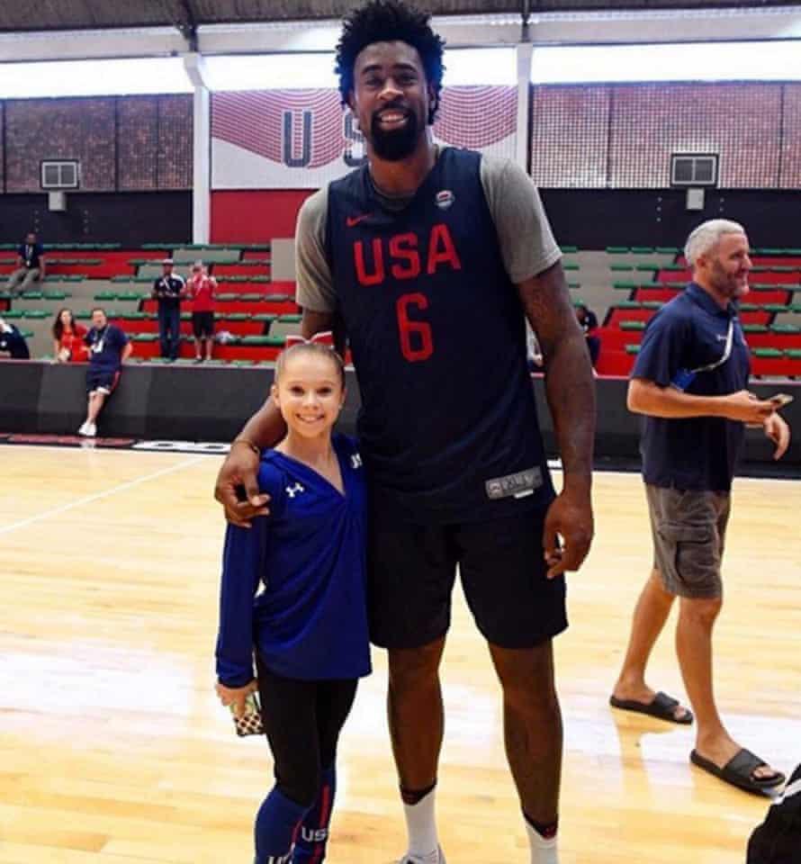 Gymnast Ragan Smith with basketball player Deandre Jordan.