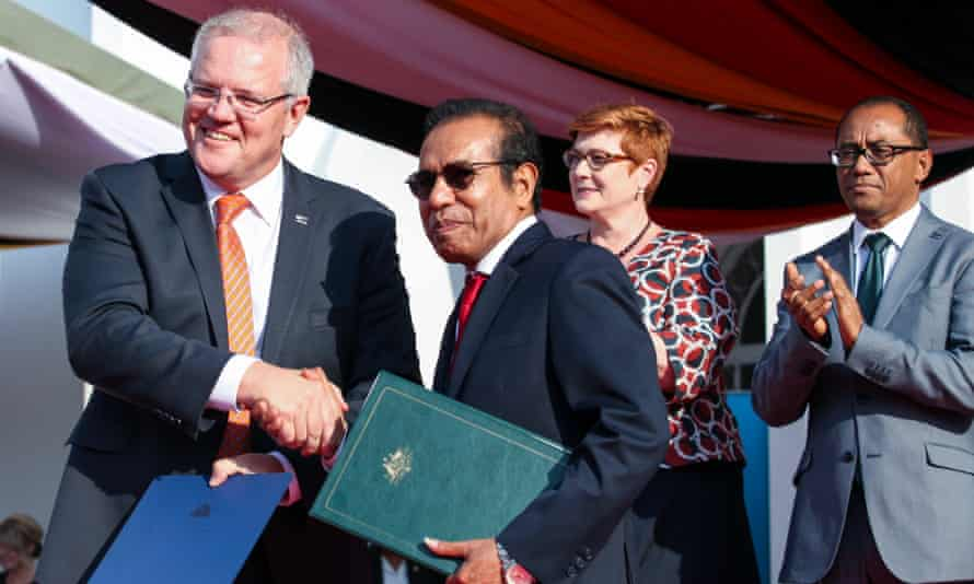 Australia's Scott Morrison with Timor-Leste's Taur Matan Ruak at the Government Palace in Dili on 30 August 2019