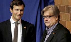 Jared Kushner, Donald Trump's Jewish son-in-law and member of his transition team, stands with Steve Bannon, the president-elect's chief strategist who has denied being an antisemite.