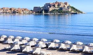 Calvi Beach and Citadel of Calvi, Corsica
