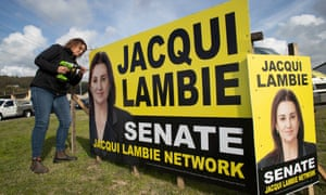 Jacqui Lambie puts up election signs in Burnie in April ahead of the 2019 federal election in which she secured almost 9% of Senate first-preference votes in Tasmania.