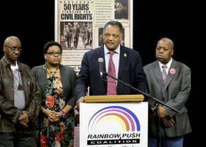 Civil rights leader the Reverend Jesse Jackson shares memories of his longtime friend Muhammad Ali at a news conference in Chicago. Jackson called the boxer a social transformer who used his fame to attack injustice