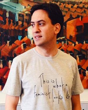 Ed Miliband sporting the 'feminist' T-shirt.