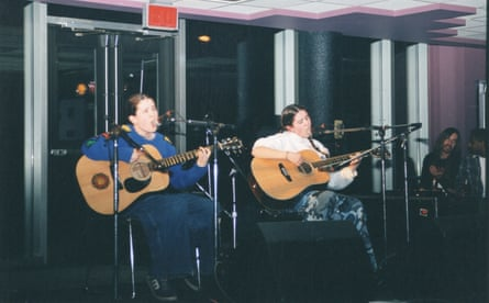Tegan and Sara perform in the semi-final of Garage Warz, a music competition in Calgary, in 1998. They went on to win