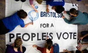 Students at Bristol University make a People's Vote banner