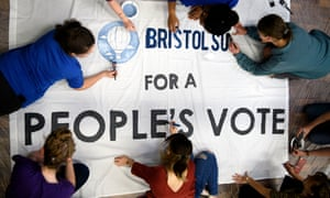 Students at Bristol University work on a banner in support of a people's vote.
