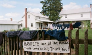 Basketwork: baskets for sale at an Amish farmhouse in Ohio.