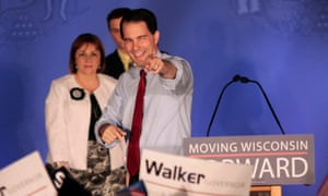 Scott Walker celebrates his recall election victory in 2012.