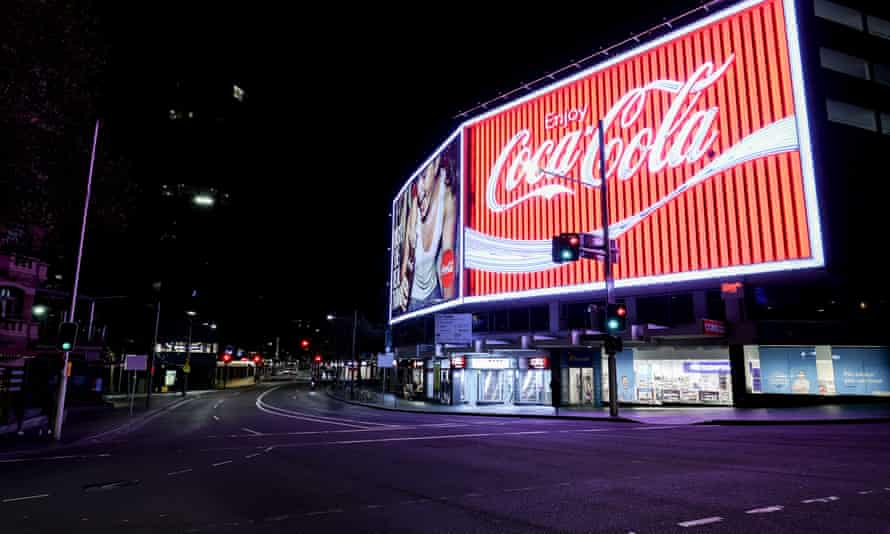 An empty Kings Cross on Saturday night as a lockdown was imposed on greater Sydney.