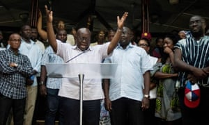 Nana Akufo-Addo with supporters from his New Patriotic party.